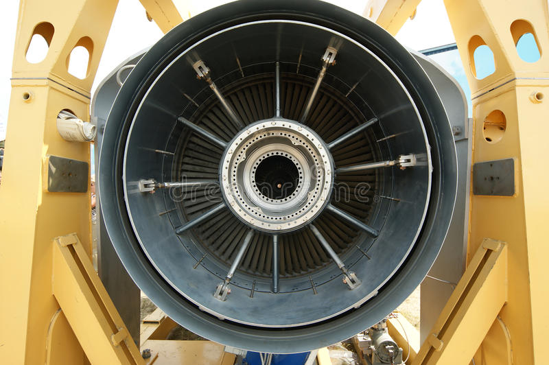 Inside the rear of a jet engine stock image