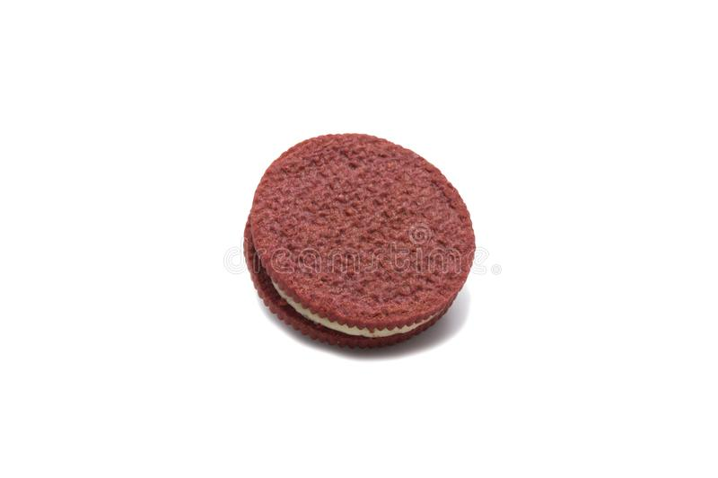 Inside of Red velvet sandwich cookie with cheesecake flavored cream isolate on white. Background stock images