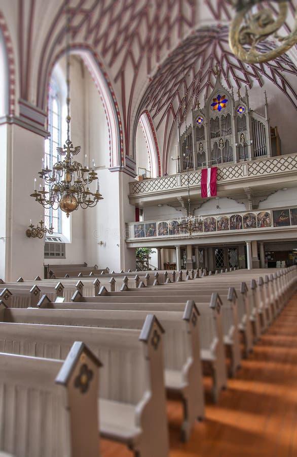 Inside the Riga church of St Johns stock photography