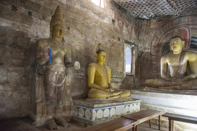 Inside the Rock Temple in Dambulla royalty free stock image