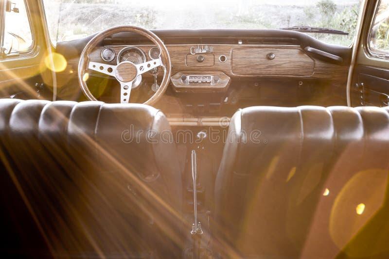 Inside rocznika samochód fotografia royalty free