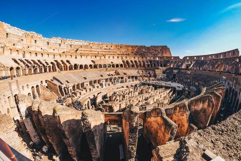 Inside the Roman Colosseum in Rome, Italy panoramic view stock photos