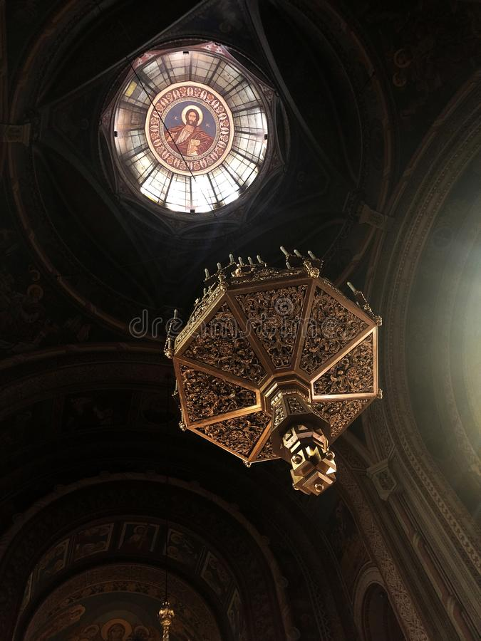 Inside of Romanian Cathedral - Timisoara. Image of the inside of Romanian Cathedral in Timisoara - beautiful chandelier stock photos