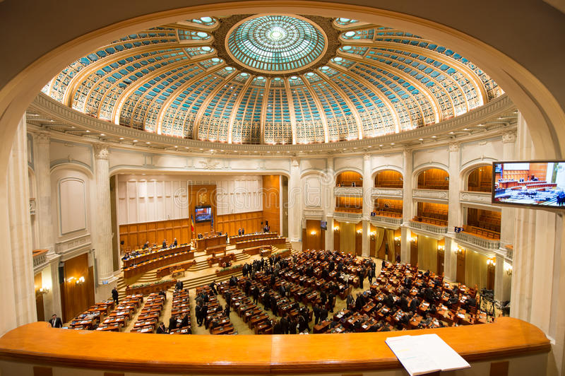 Inside of Romanian Parliament stock images
