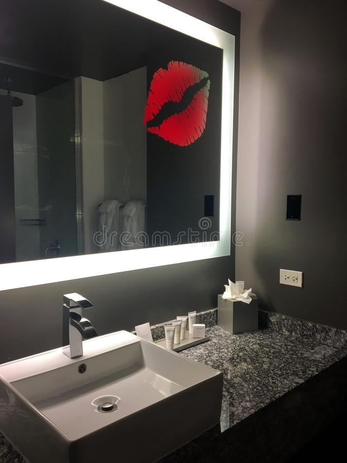 . TRENDY HIPSTER HOTEL BATHROOM CLOSE UP  CHICAGO Stock Photo   Image