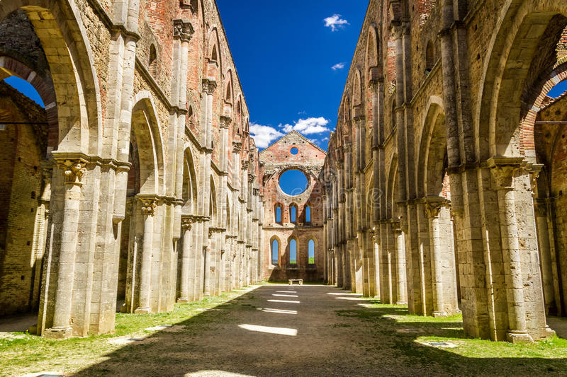 Inside a ruined old church in Tuscany stock photos