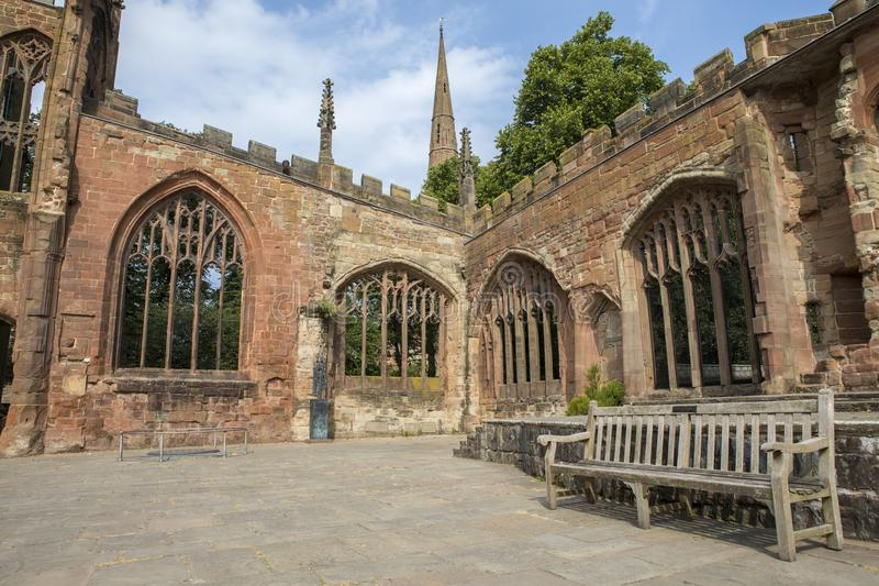 Ruins of Coventry Cathedral in the UK royalty free stock image