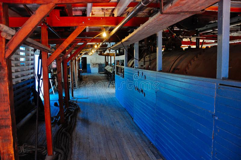 Inside the S.S. Keno sternwheeler in Dawson City, Yukon. royalty free stock images