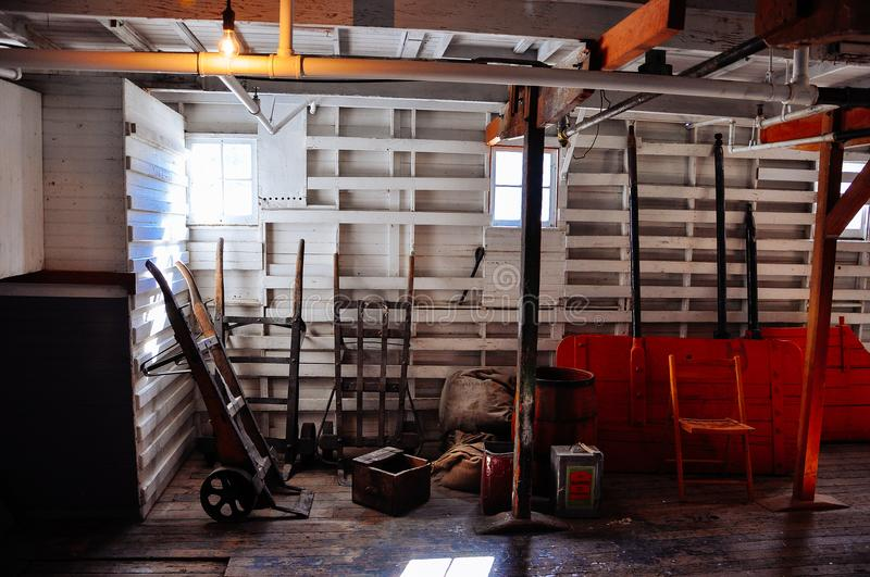 Inside the S.S. Keno sternwheeler in Dawson City, Yukon. royalty free stock photo