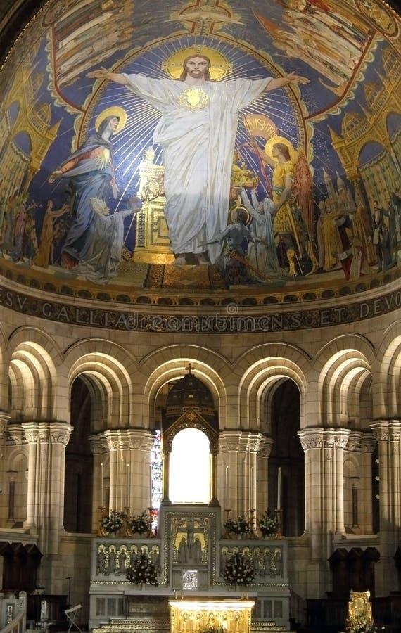 Inside Sacré-Cœur, Paris stock image