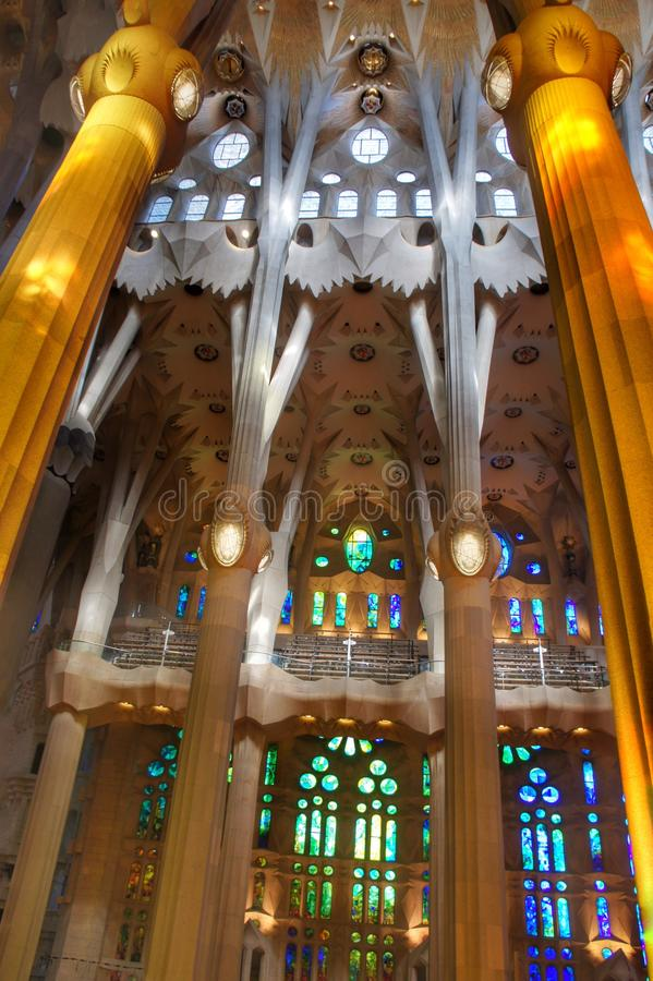 Inside of Sagrada Familia stock images