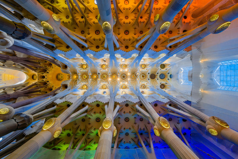 Inside of Sagrada Familia. When the sunshine into Sagrada Familia through the Stained windows, what colorful! We can see the god above us because he give us the