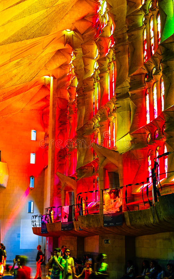 Inside of Sagrada Familia. When the sunshine into Sagrada Familia through the Stained windows, what colorful! We can see the god above us because he give us the royalty free stock image