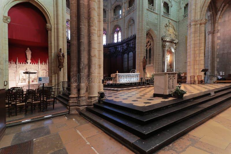 Inside Saint-Nizier Church in the heart of the Presque ile of Lyon stock photos
