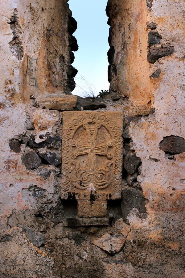 "Inside Samshvilde Sioni. Samshvilde Sioni church, built in 759-777 by the local grandees, Varaz-Bakuri, his brother Johan and sister Deborah, called ""the royalty free stock image"