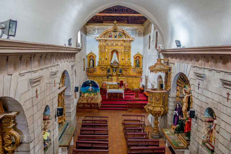 Inside San Diego church showing perspective of stock image