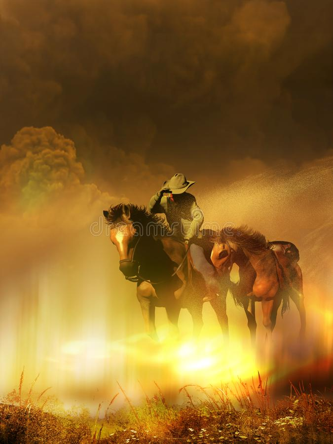 Inside the sand storm stock illustration