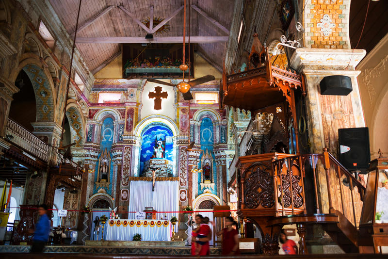 Inside a Santa Cruz Cathedral in Fort Cochin, India. COCHIN, INDIA - MAY 11, 2016: Inside a Santa Cruz Basilica - Cathedral in Fort Cochin of Kerala state, India royalty free stock images