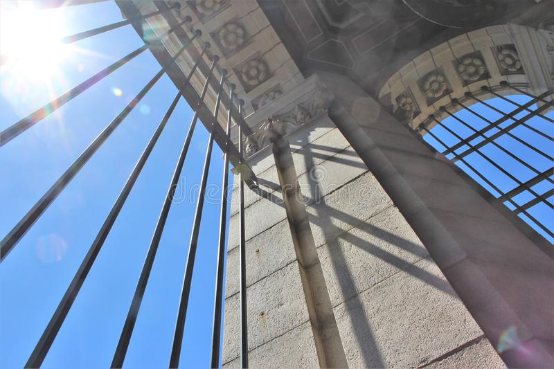 The inside of Sather Tower stock photo