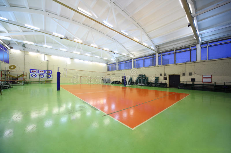 Download Inside School Gym Hall And Volleyball Net Stock Image - Image: 20918277