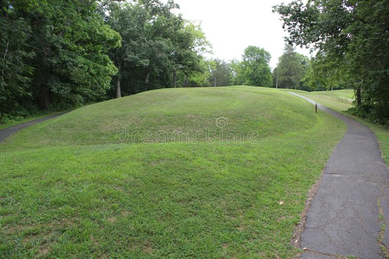 Inside the Serpent Mound park. This Mound was built by the Fort Ancient culture around 1070 CE.nSerpent Mound is the largest serpent effigy in the world royalty free stock photography