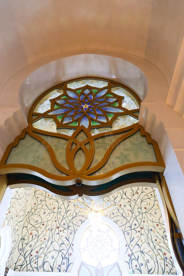 Inside Shaiekh Zayed Mosque - Abu Dhabi. Shaiekh Zayed Grand Mosque - Abu Dhabi - United Arab Emirates. It is the largest mosque in the country royalty free stock photo