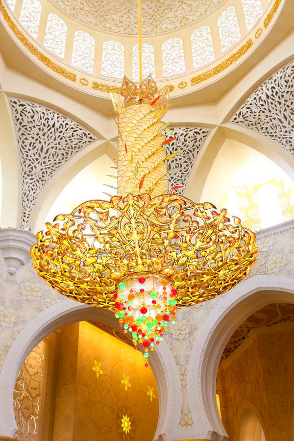 Inside Shaiekh Zayed Mosque - Abu Dhabi. Shaiekh Zayed Grand Mosque - Abu Dhabi - United Arab Emirates. It is the largest mosque in the country stock image