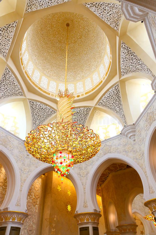 Inside Shaiekh Zayed Mosque - Abu Dhabi. Shaiekh Zayed Grand Mosque - Abu Dhabi - United Arab Emirates. It is the largest mosque in the country royalty free stock image