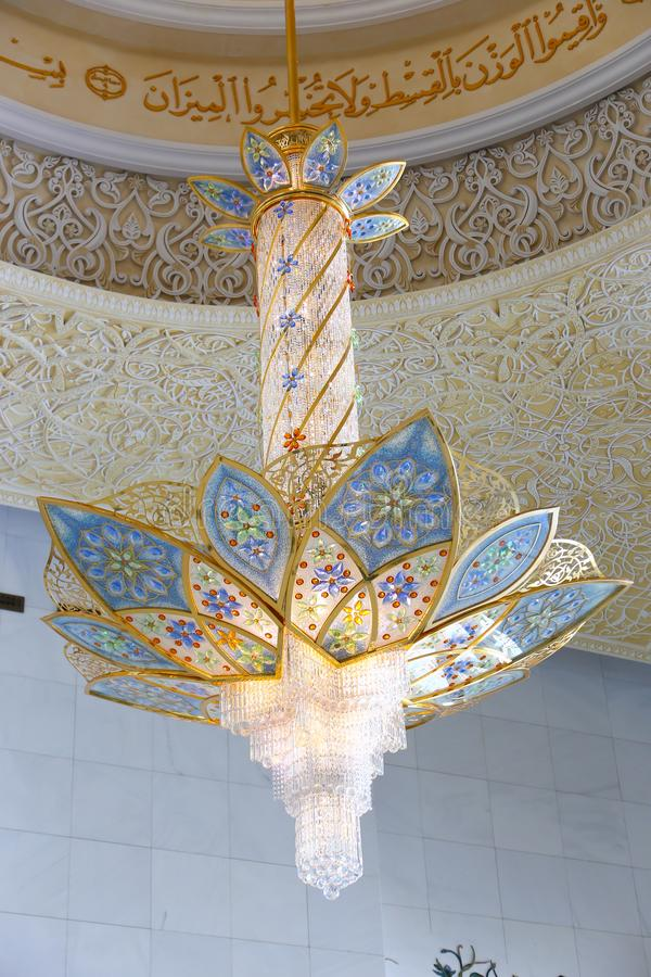Inside Shaiekh Zayed Mosque - Abu Dhabi. Shaiekh Zayed Grand Mosque - Abu Dhabi - United Arab Emirates. It is the largest mosque in the country stock photo