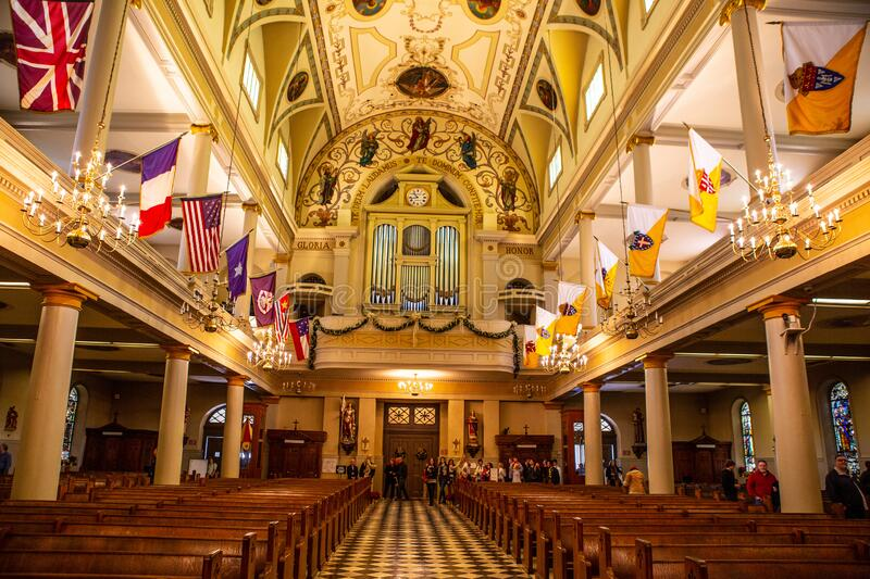 Saint Louis Cathedral in New Orleans,. Inside shot of Saint Louis Cathedral in New Orleans, United States royalty free stock image