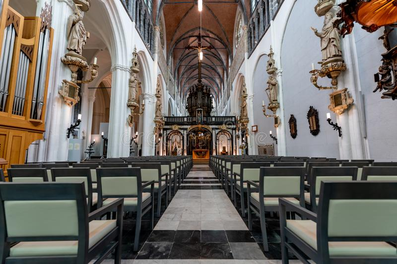 Inside of the Sint Jacobskerk in the historical city of Bruegge stock photography