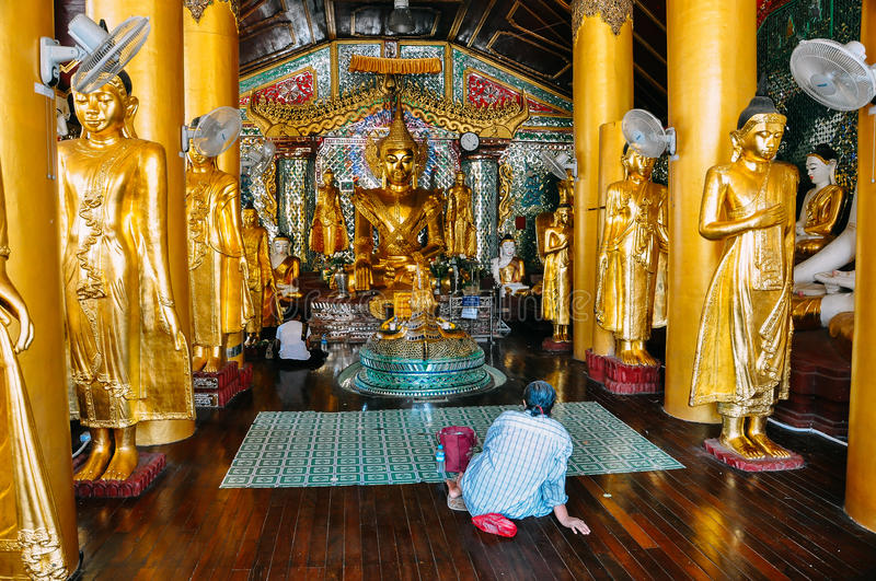 Inside a small temple at Shwedagon Pagoda in Yangon. royalty free stock image