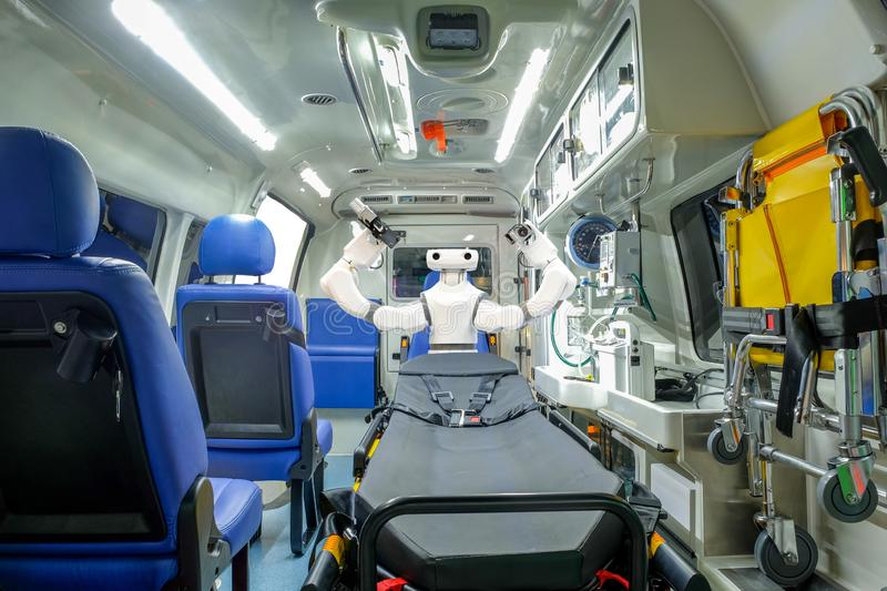 Inside smart ambulance car with medical equipment and smart robot assistant. For helping patients before bring to hospital, smart medical 4.0 and smart royalty free stock image