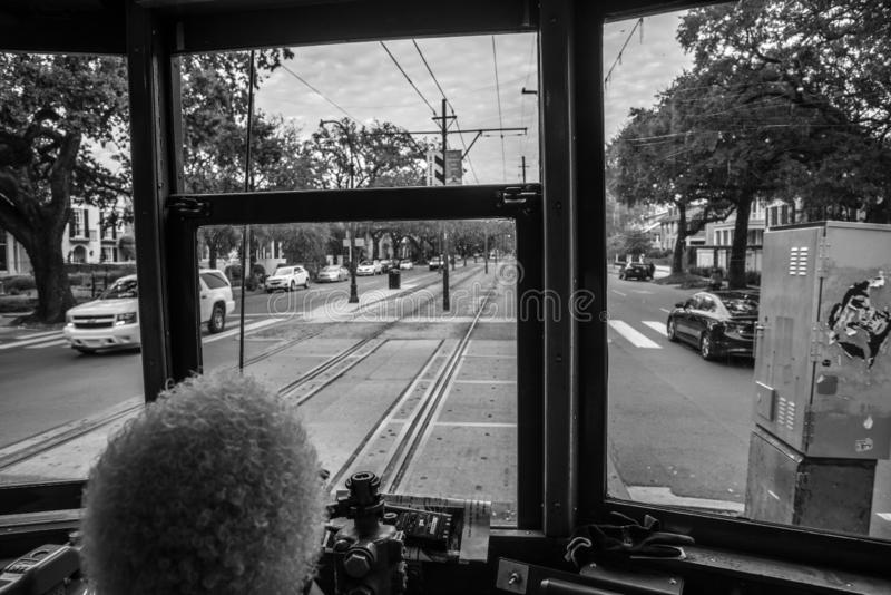 From inside the St. Charles streetcar in NOLA. St. Charles streetcar in New Orleans is the oldest working one in the world royalty free stock photos
