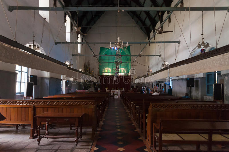 Inside of St. Francis Church in Fort Kochi. Fort Kochi, India - Jan 7, 2015: Inside of St. Francis Church. It is the oldest European church in India. Fort Kochi stock photo