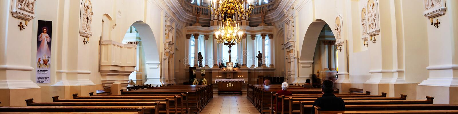 Inside St Peter and Paul Cathedral in Siauliai, Lithuania. SIAULIAI, LITHUANIA - SEPTEMBER 4, 2016: Inside St Peter and Paul Cathedral in Siauliai, Lithuania royalty free stock images