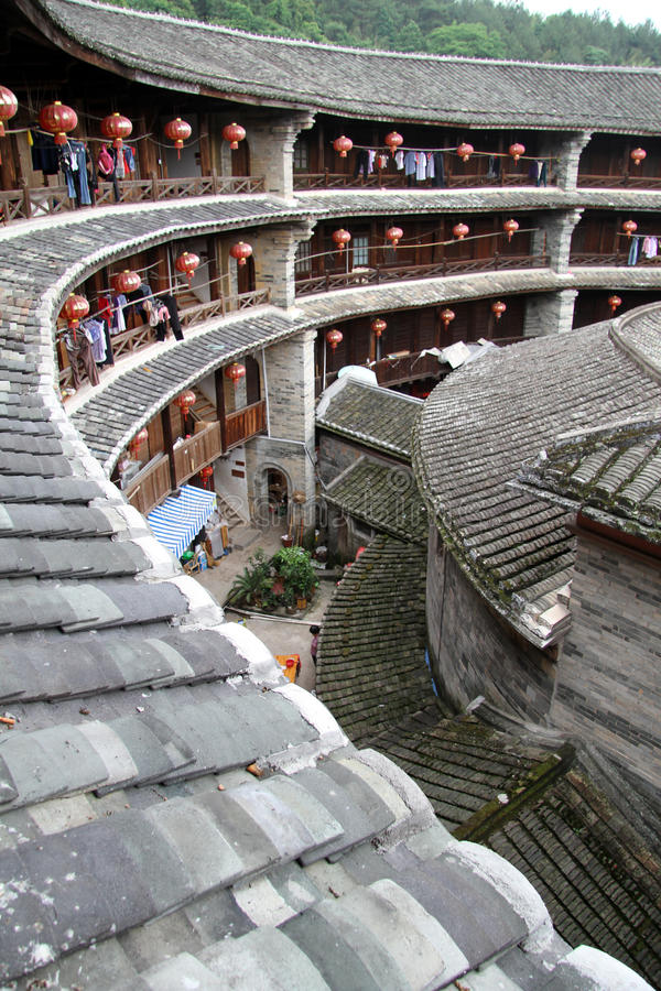 Inside stone tulou stock images
