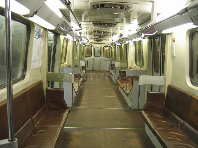 Inside of a subway car stock images
