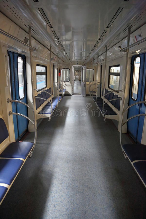 Inside the subway car. Interior of an empty car of the passenger subway train stock photo