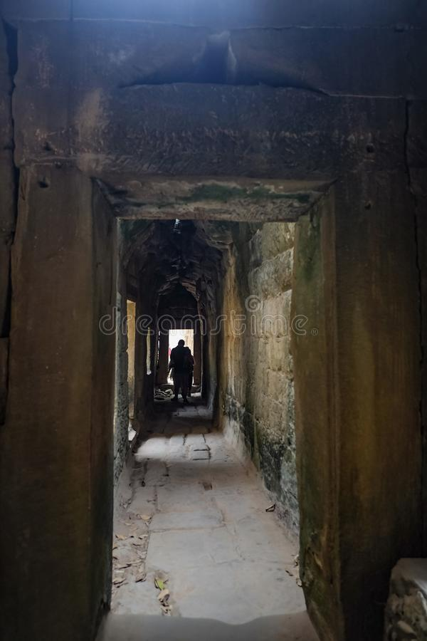 Inside ta prohm temple with broken path,angkor wat angkor thom royalty free stock image