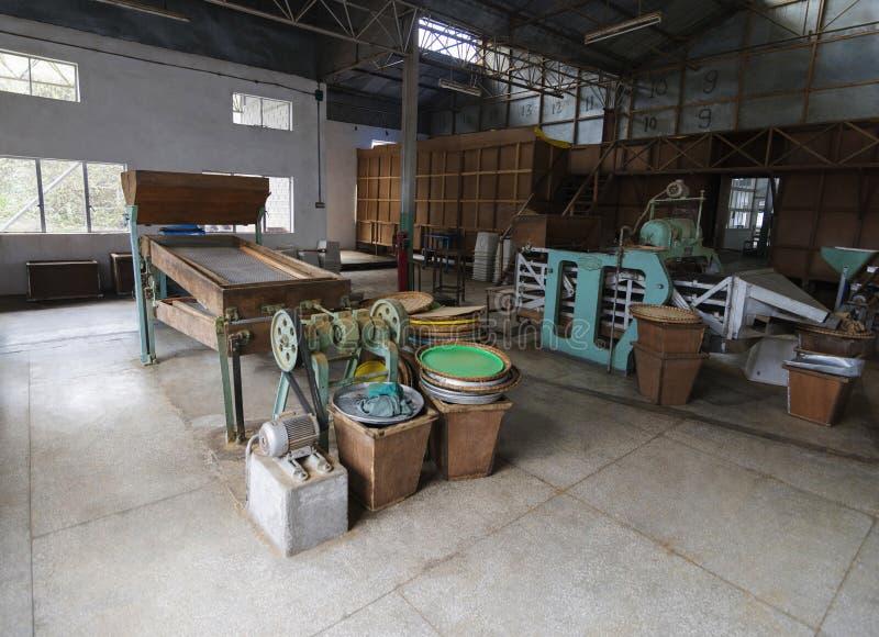 Inside tea factory, Temi Tea Estate, Sikkim, Indien lizenzfreie stockfotografie