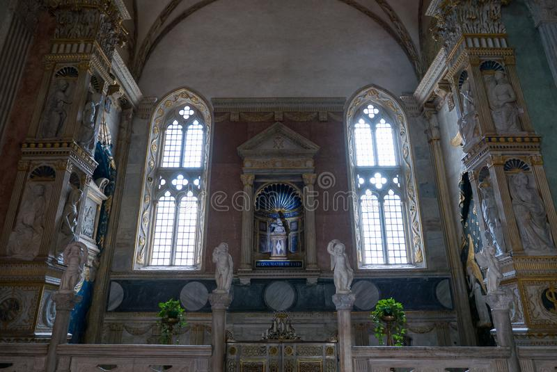 Inside the Tempio Malatestiano meaning Malatesta Temple unfinished cathedral church named for St Francis. Rimini stock photo