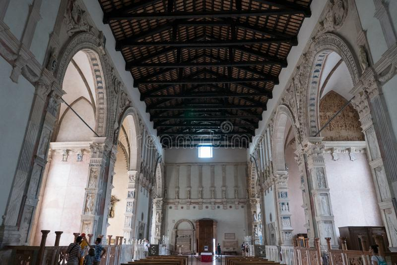 Inside the Tempio Malatestiano meaning Malatesta Temple unfinished cathedral church named for St Francis. Rimini royalty free stock images