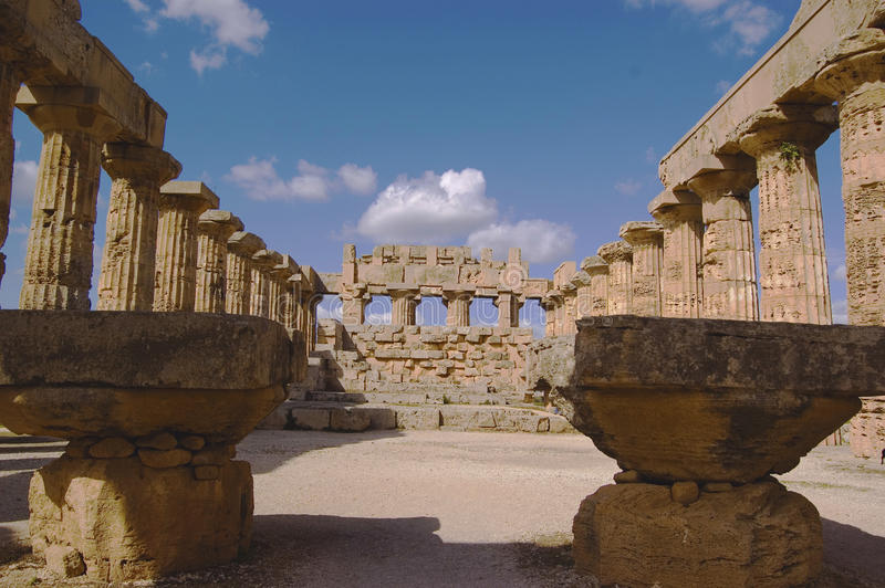 Inside the temple. Old greek temple in selinute, sicily, italy royalty free stock photography
