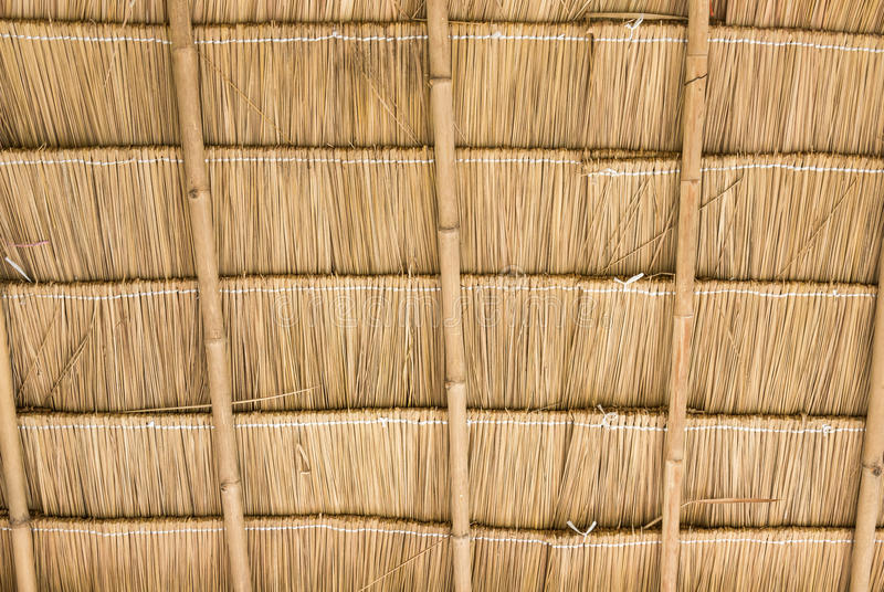 Inside of thatch roof. On the countryside cottage royalty free stock photo