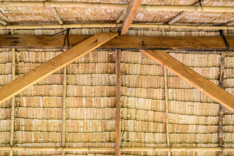 Inside of thatched roof Thai cottage stock photo