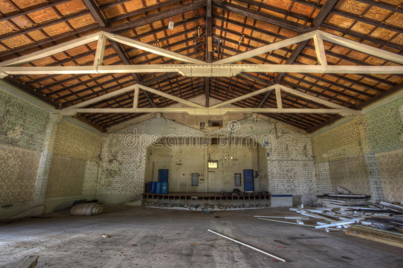 Inside the theatre of Fort Sherman. Inside the abandoned theatre of Fort Sherman, Colon, Panama. Ft Sherman was a US Army base to protect the Panama Canal. HDR stock image