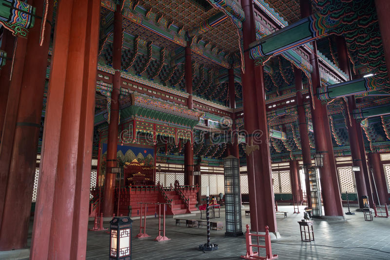 Inside the throne hall at the Gyeongbokgung Palace in Seoul. Inside the Geunjeongjeon, the Throne Hall, at the Gyeongbokgung Palace, the main royal palace of the royalty free stock image