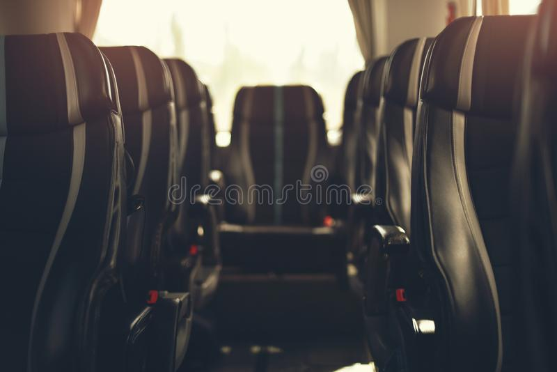 Inside of the tourist bus in dof effect stock image
