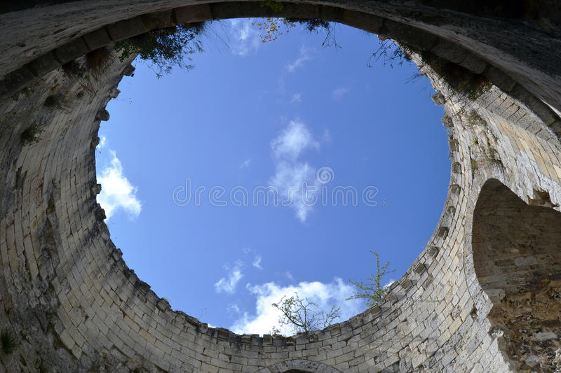 Inside the tower of Chateau Gaillard stock photo